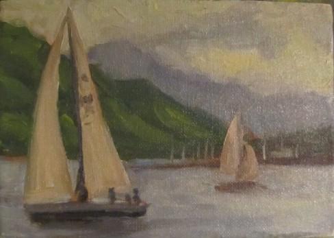 "Evening Sail  5"" x 7"" $200"