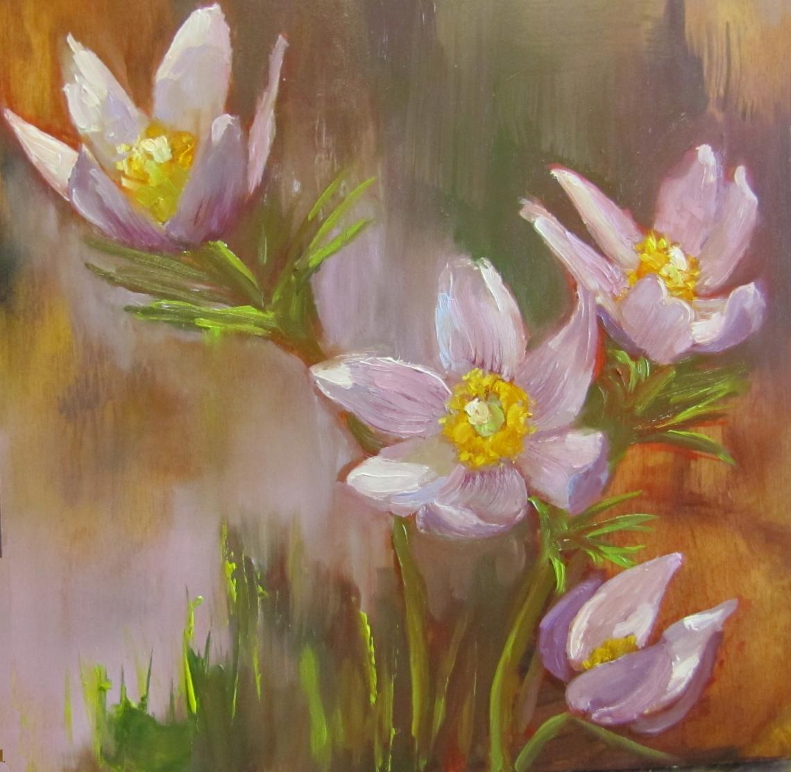 """Pasque Flowers 8""""x 8"""""""